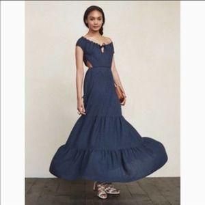Reformation Veijo Blue Open Back Tie Maxi Dress Sm